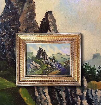 Rocky Landscape in the bergen. original old oil painting + Magnificent Frame