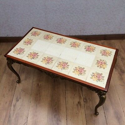 Vintage Style Brass And Tile Top Coffee Table