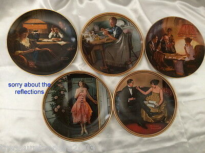 🌟 5 Stunning Norman Rockwell Ltd Edition & Numbered Cabinet Plates