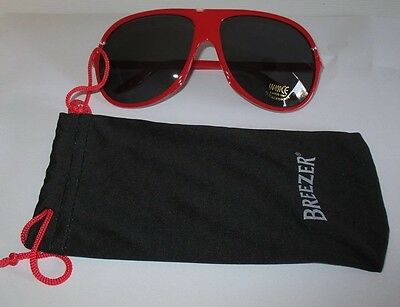 Bacardi Brezzer Rum new retro red sunglasses with pouch for home bar collector