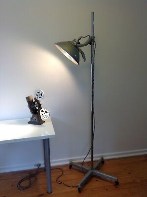 Vintage Medical Surgical Theater Light with Original Stand on Wheels