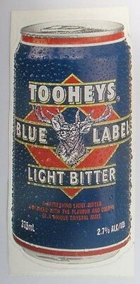 Tooheys Blue Light Beer new can shaped sticker for home bar or pub collector