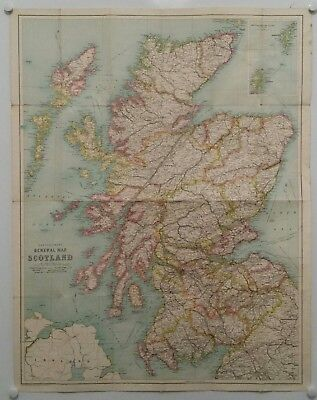 Vintage Map Of Scotland.bartholomew's General Map Of Scotland.on Cloth.prop.