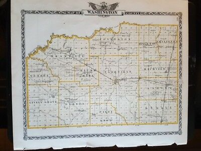 Antique Map - WASHINGTON County Illinois - Warner & Beers/Union Atlas Co. 1876