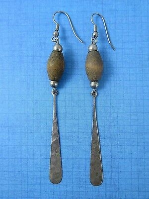 Vintage Hand Crafted Earrings With Wood Bead Hammered Metal Dangle Elements