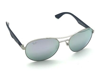 2a0854a7b6c Ray-Ban RB 3536 019 4V Matte Silver Blue Round Sunglasses Pink Mirror Lens