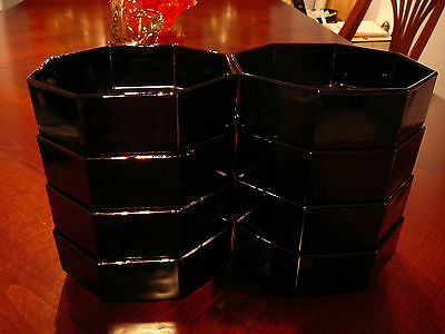 "8 Vintage Black Arcoroc Octime Black Glass 5.5"" Bowls Soup Pasta Stew"