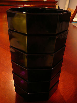 "6 Vintage Black Arcoroc Octime Black Glass 5.5"" Bowls Soup Pasta Stew"