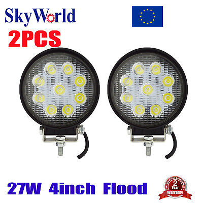 2x 4inch 27W LED Work Light Bar Flood Driving Off Road Truck SUV UTE Round 12V