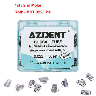 Dental Orthodontic Buccal Tube Split Welding 1st / 2nd Molar Roth/ MBT, 022/ 018