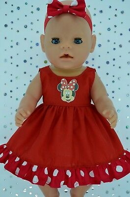 "Play n Wear Doll Clothes To Fit 17"" Baby Born POLKA DOT/RED DRESS~HEADBAND"