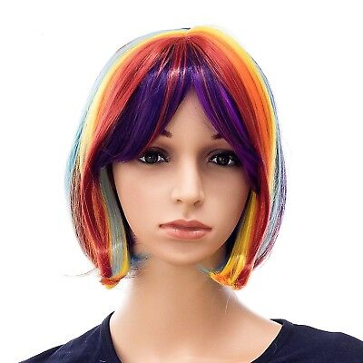 SWACC Rainbow Costume Wigs Short Hair Bob Wig For Cosplay Party (Rainbow)