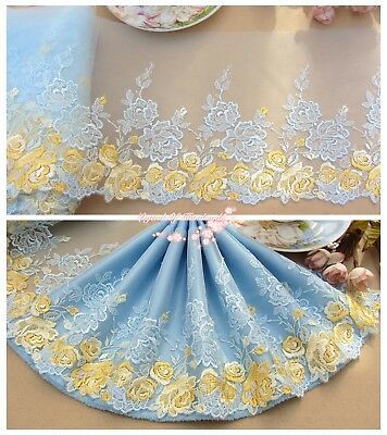 "7""*1Y Embroidered Tulle Lace Trim~Light Blue+Yellow~Rose Glamour~Wedding/DIY~"