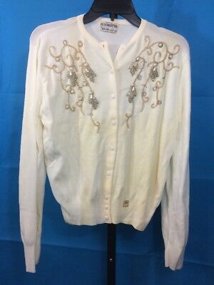 Vtg NOS 50s 60s Ban-lon Beaded Button Up Sweater Cream Ivory As Is Sz 38