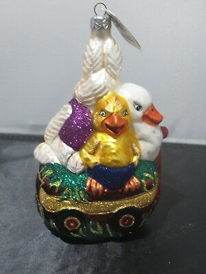 Slavic Treasures Spring Parade Easter Glass Ornament Bunny, Chick, Goose, Wagon