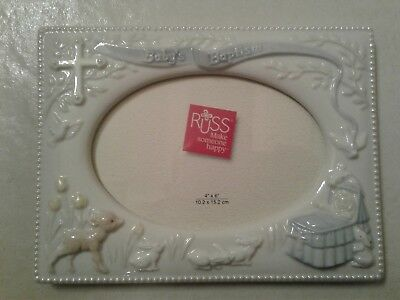 """Brand New In Box - Russ Baby Baptism Picture Frame - Boys Blue - 4"""" X 6"""""""