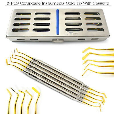 Dental Composite Gold Tip Plugger Dentist Tool With 5Pcs Cassette FREE