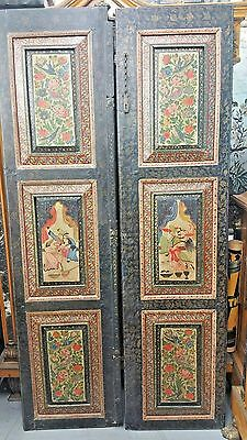 A Pair Of Antique Persian Miniature Painting On Wood Qajar Doors Islamic Panel