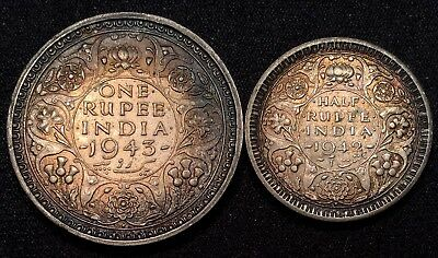 India-British 1943 One Rupee & 1942 Half (1/2) Rupee TONED - WWII Silver Coins