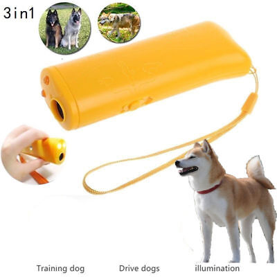 USA 3 in 1 Ultrasonic Aggressive Dog Pet Repeller Training Anti Barking Device