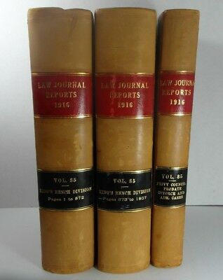 3 Rare old vintage antique Books Law Journal Reports 1916 Vol 85 King Bench Div.