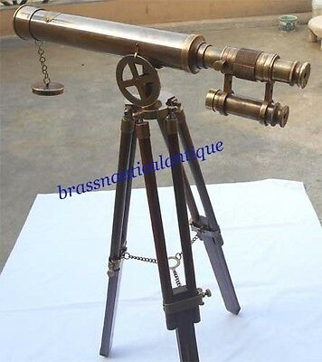 Soild Brass Telescope Brown Antique Finish Telescope With Wooden Tripod stand