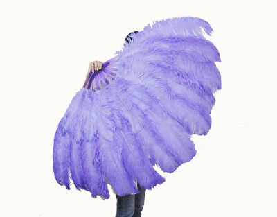"""aqua violet  XL 2 layers Ostrich Feather Fan 34"""" x 60"""" with leather Travel Bag"""