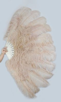 """Beige Camel XL 2 layers Ostrich Feather Fan 34"""" x 60"""" with leather Travel Bag"""