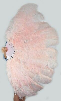 """Blush XL 2 layers Ostrich Feather Fan 34"""" x 60"""" with leather Travel Bag"""