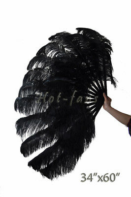 """black XL 2 layers Ostrich Feather Fan 34"""" x 60"""" with leather Travel Bag"""