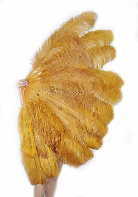 """Topaz XL 2 layers Ostrich Feather Fan 34"""" x 60"""" with leather Travel Bag"""