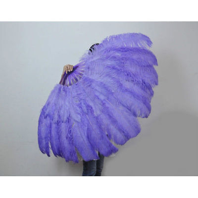 """Aqua violet 2 layer Ostrich Feather Fan 30""""x 54"""" with Travel Bag Burlesque"""