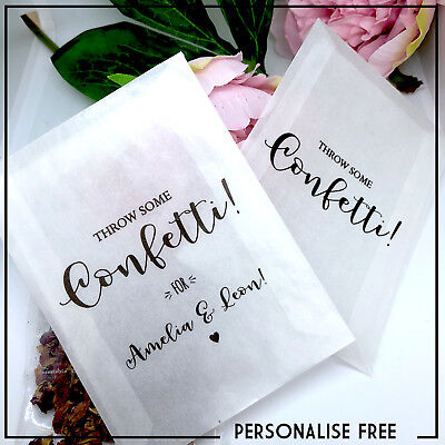 Throw some Confetti Personalised glassine bags wedding names & date throw me x10