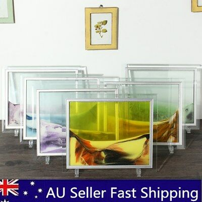 6 Colors Framed Moving Sand Time Glass Picture Home Office Desk Decor Craft Art