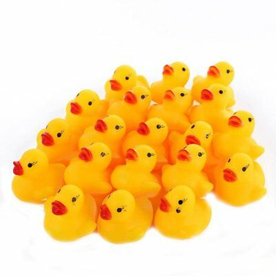 Cute 20PCs Mini Yellow Rubber Race Squeaky Bathing Duck Ducky Baby Toys M2