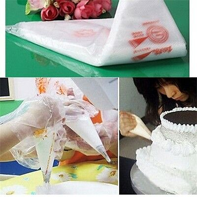 100PCS Disposable Bags Icing Nozzle Fondant Cake Decorating Pastry Tool IG