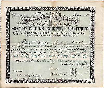 South Africa, New Chimes Gold Mining Company, 15 Shares 1895, Stock Certificate