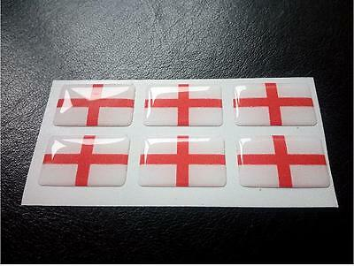 6 X St George Flag Resin 3D Domed England Sticker label 27mm x 16mm waterproof