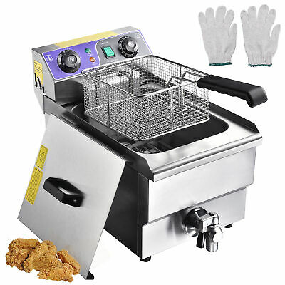 10L Electric Deep Fryer Fat Chip Commercial Restaurant Stainless Steel w/ Timer