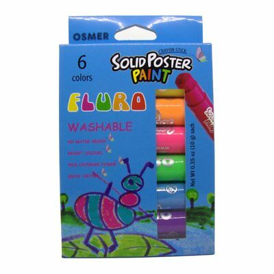 Osmer Solid Poster Paint Washable Crayon Sticks 6 pack Fluro