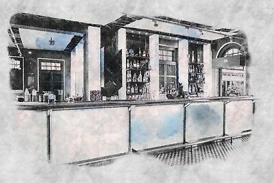 Abstract Bar Building Diner Canvas Picture Poster Print Wall Art Unframed #1534