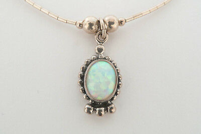 Native American sterling silver necklace with Gilson Opal blue red green