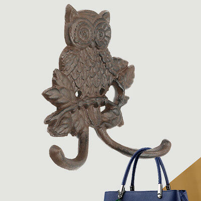 Durable 14.5x4.8cm Cast Iron Owl Coat Hook Wall Mount Rustic Wildlife Home Decor
