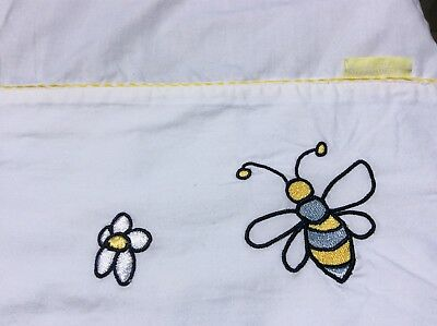 Bubba Blue white cot sheet EUC embroidered blue yellow flowers, bees yellow trim