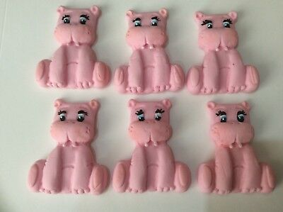 Edible sugar paste pink Hippos cup cake toppers 6/12/24