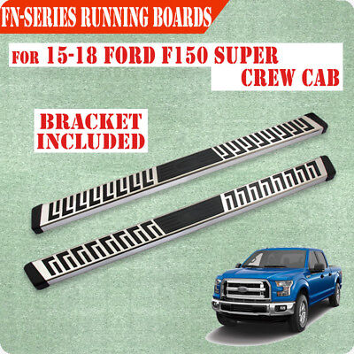 """Fit 15-18 Ford F150 Super Crew Cab 6"""" Running Board Nerf Bar Side Step S/S FN"""