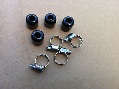 SET 4 Stainless Steel Braided Hose 17mm Rubber Push On End Caps Finishers, Clips