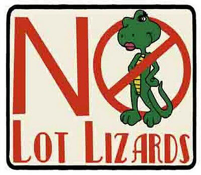 """"""" No Lot Lizards """"   Trucking     Vintage 1970's Style  Travel  Sticker Decal"""