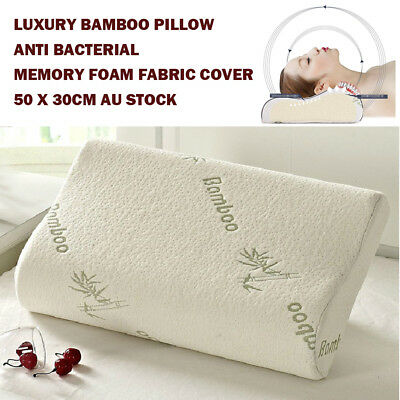 Luxury Bamboo Pillow Anti Bacterial Memory Foam Fabric Cover 50 X 30CM AU stock