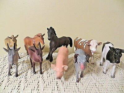 TEN (10) Large Plastic Farm Animals - 2 are Schleich Brand - Nice Variety - EUC